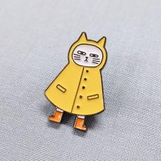 우비 고양이-흑니켈도금 칠 뱃지